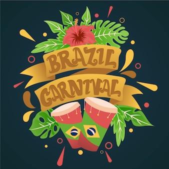 Brasilianischer karneval in der hand gezeichnet