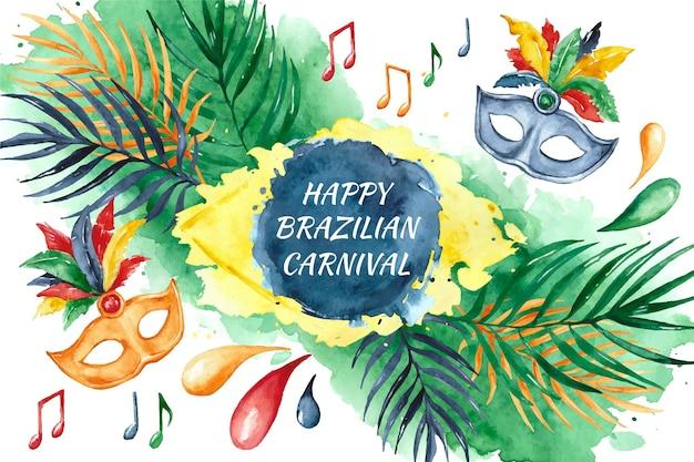 Brasilianischer karneval mit aquarellblumen