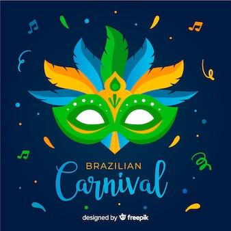 Brasilianischer karnevalshintergrund der bunten maske