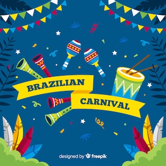 Brasilianischer karnevalshintergrund der flachen instrumente