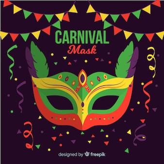Brasilianischer karnevalshintergrund der flachen maske