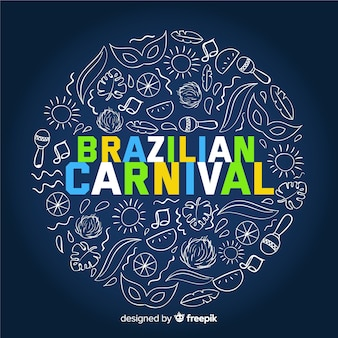 Brasilianischer karnevalshintergrund der gekritzelelemente