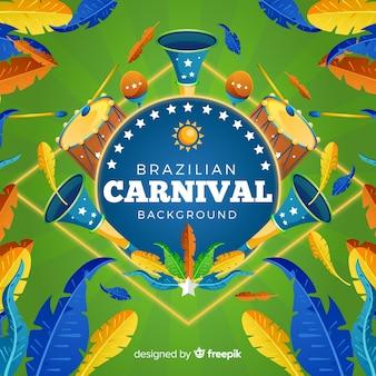 Brasilianischer karnevalshintergrund der realistischen federn
