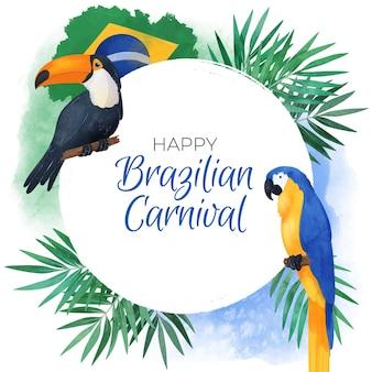 Brasilianischer karnevalshintergrund des aquarells mit vögeln
