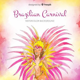 Brasilianischer karnevalshintergrund des aquarells
