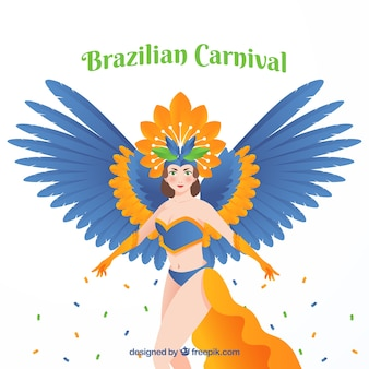 Brasilianischer karnevalshintergrund mit frau