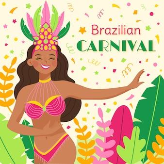 Brasilianischer karnevalshintergrund mit tänzer