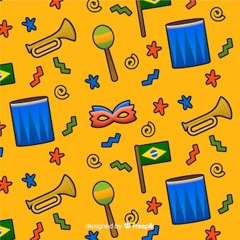Brasilianischer karnevalsmusterhintergrund