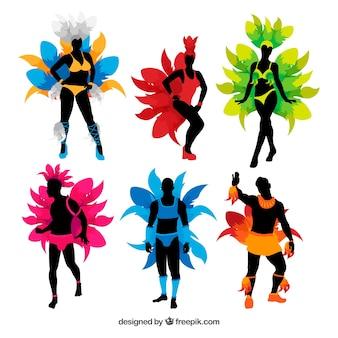Brasilianischer karnevalstänzer eingestellt in sechs farben