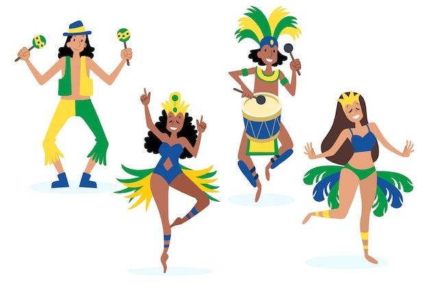 Brasilianischer karnevalstänzer mit traditionellen kostümen