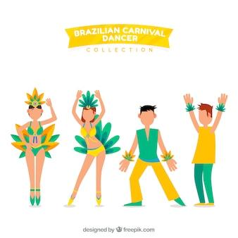 Brasilianischer karnevalstänzer satz von vier