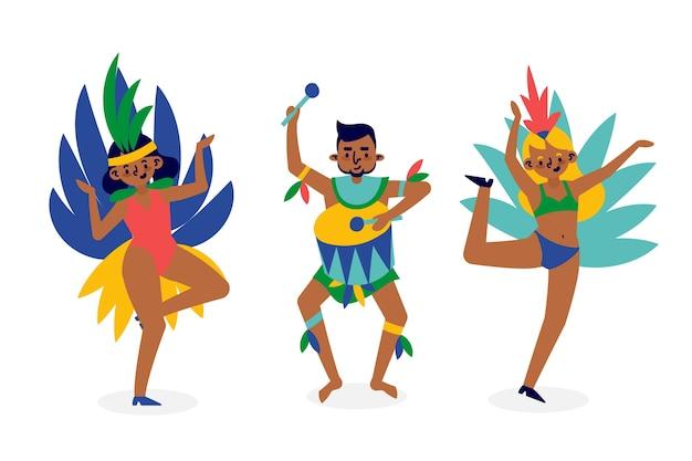 Brasilianischer karnevalstänzersatz