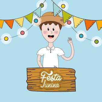 Brasilianischer mann feiert festa junina