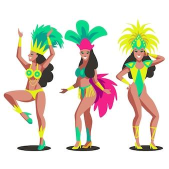 Brasilianischer tänzer mit kostümsammlung