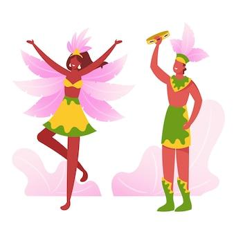 Brasilianischer tamburin-spieler singt und spielt, tänzerin, die samba am karneval von rio durchführt. karikatur flache illustration