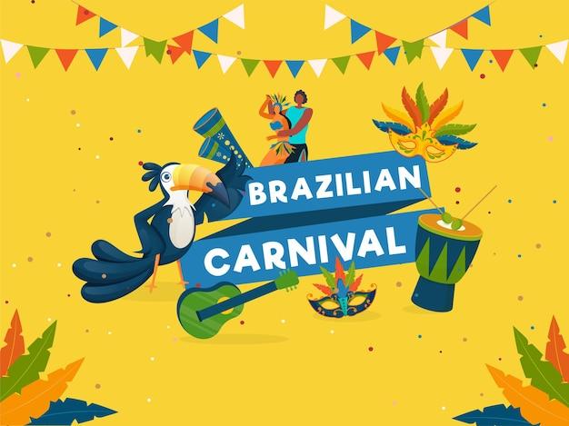 Brasilianisches karnevals-feier-konzept mit cartoon-paar-charakter