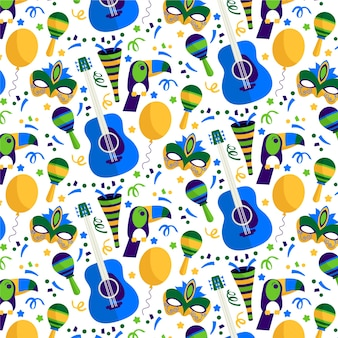Brasilianisches karnevalsfeiermuster des flachen designs