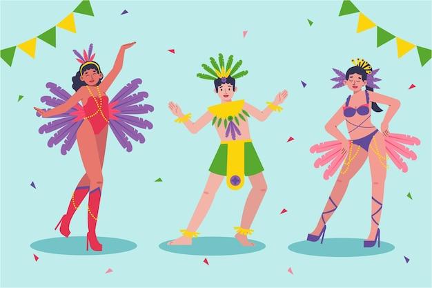Brasilianisches karnevalsfest-tänzerpaket