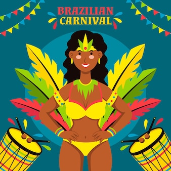 Brasilianisches karnevalskonzept im flachen design
