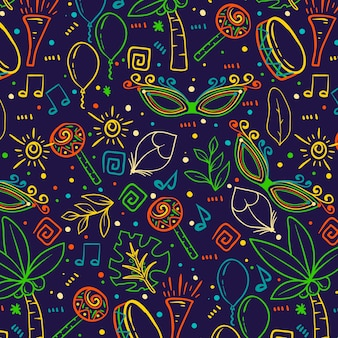 Brasilianisches karnevalsmuster der bunten skizzen