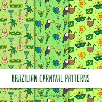 Brasilianisches karnevalsmuster der karikatur