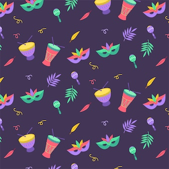 Brasilianisches karnevalsmuster des flachen designs