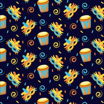 Brasilianisches karnevalsmusterkonzept des flachen designs