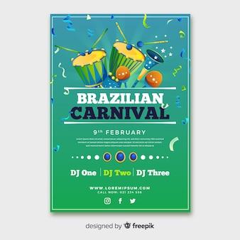 Brasilianisches karnevalsparteiplakat der instrumente