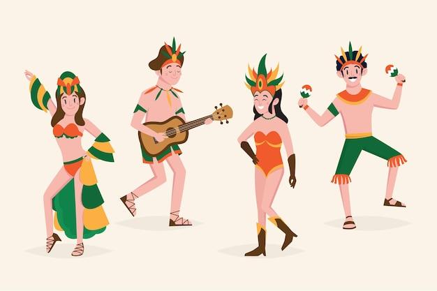 Brasilianisches karnevalstänzer-illustrationspaket