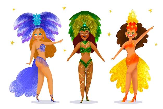 Brasilianisches karnevalstänzerpaket