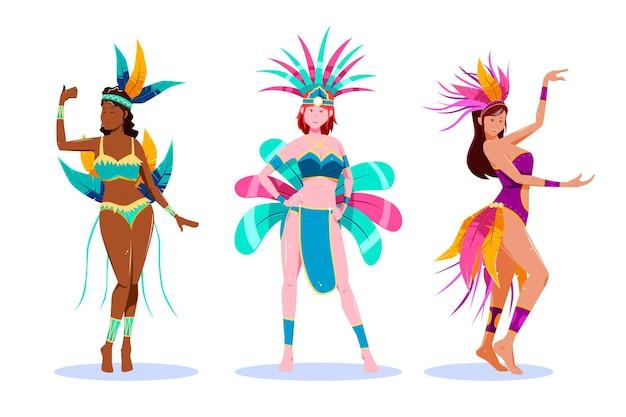 Brasilianisches karnevalstänzerset
