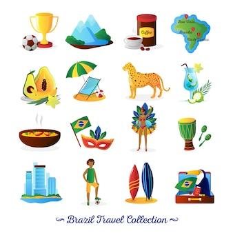 Brasilianisches kulturlebensmittel und -traditionen für reisende mit flachen elementen der landkarte und charaktersammlungszusammenfassungsvektor lokalisierten illustration