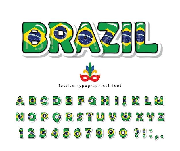 Brasilien cartoon schriftart. brasilianische nationalflaggenfarben.