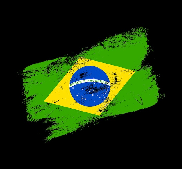 Brasilien flagge grunge pinsel hintergrund. alte pinsel-flag-vektor-illustration. abstraktes konzept des nationalen hintergrunds.