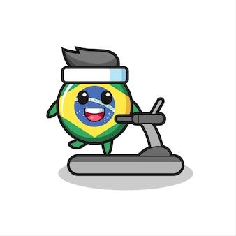 Brasilien-flaggenabzeichen-cartoon-figur, die auf dem laufband läuft, niedliches design für t-shirt, aufkleber, logo-element