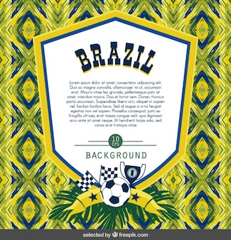 Brasilien-fußball-abzeichen auf abstrakten hintergrund