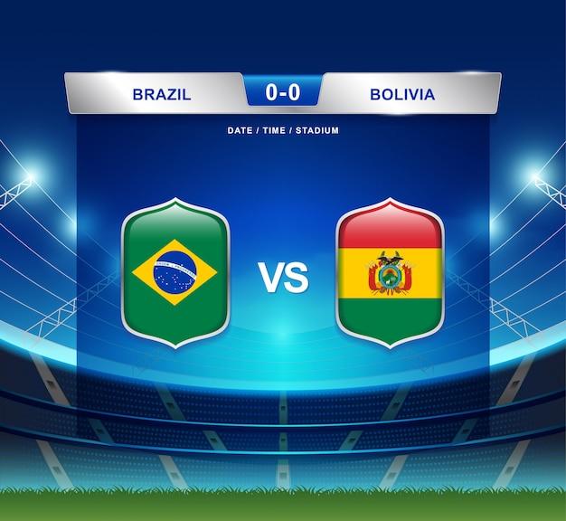 Brasilien gegen bolivien-anzeigetafel sendete fußball copa america
