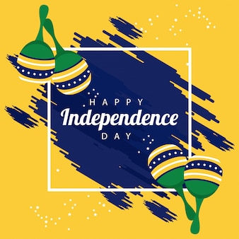 Brasilien glückliche unabhängigkeitstagfeier mit flagge und maracas