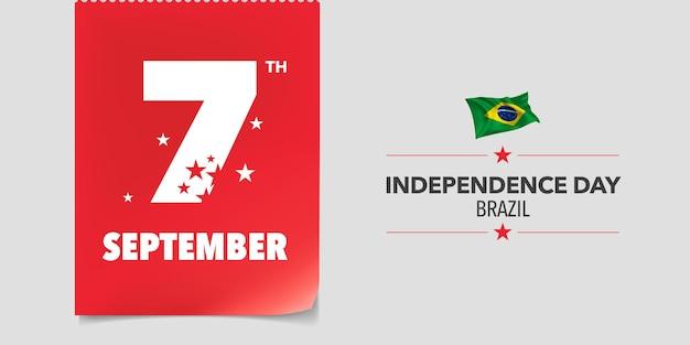 Brasilien glücklicher unabhängigkeitstag. brasilianischer nationalfeiertag 7. september hintergrund mit flaggenelementen in einem kreativen horizontalen design