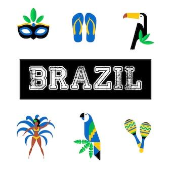 Brasilien. icon set reise-und tourismus-konzept. brasilien hintergrund