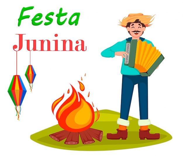 Brasilien juni festival, mann bezahlt auf akkordeon