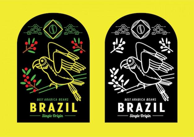 Brasilien-kaffee-etikettendesign mit macaw