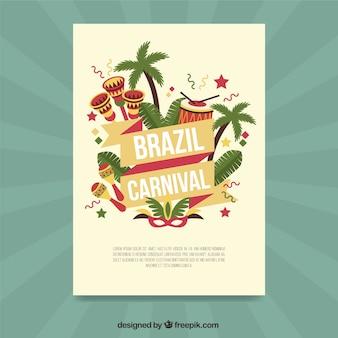 Brasilien karneval broschüre von palmen mit kleinen trommeln
