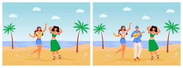Brasilien karneval illustrationen gesetzt