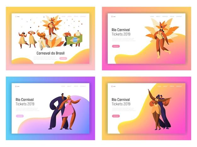 Brasilien karneval samba tänzer charakter landing page set.