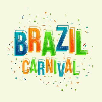 Brasilien-karnevalsparty mit buntem buchstaben