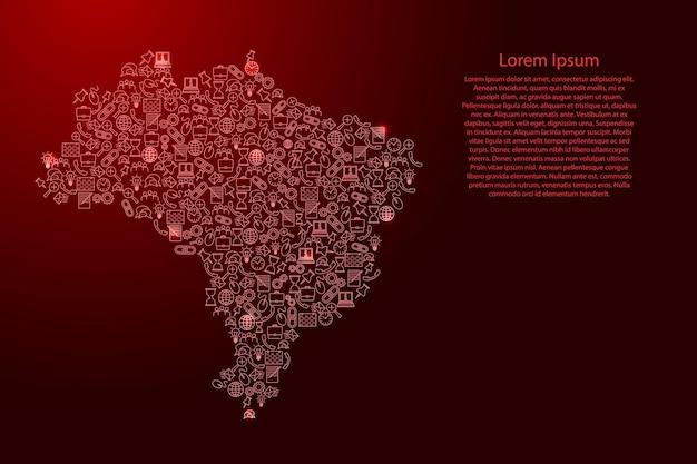 Brasilien-karte aus roten und leuchtenden sternensymbolen mustersatz seo-analysekonzept oder entwicklung, geschäft. vektor-illustration.