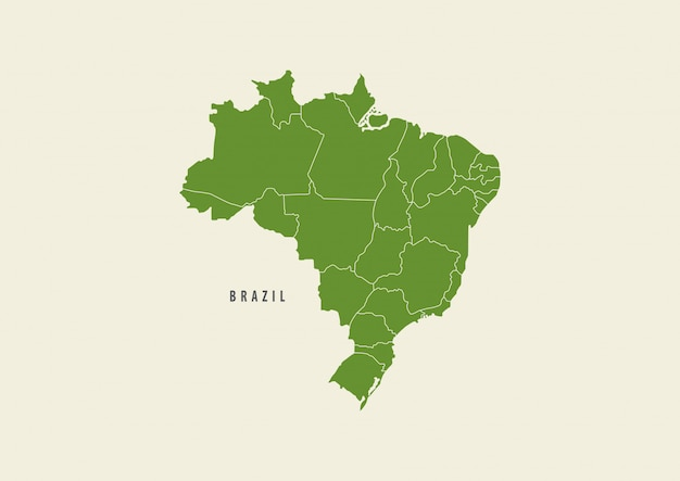 Brasilien-kartengrün lokalisiert auf weißem hintergrund