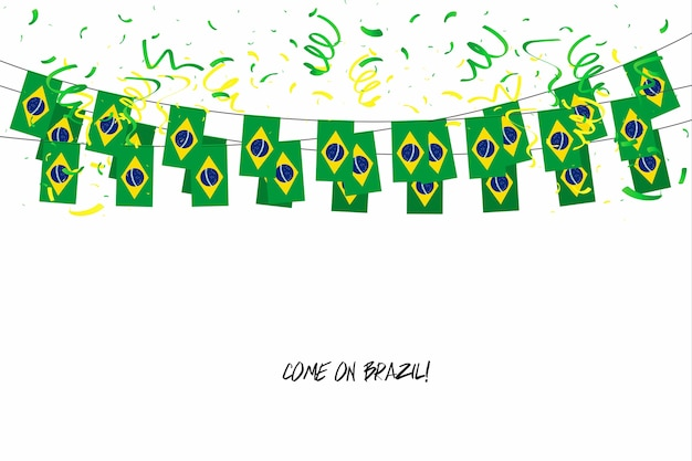 Brasilien kennzeichnet girlande mit konfettis auf weißem hintergrund.