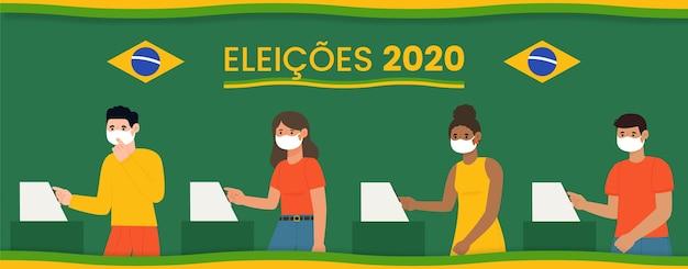 Brasilien-leute, die warteschlange mit abgebildeter gesichtsmaske wählen